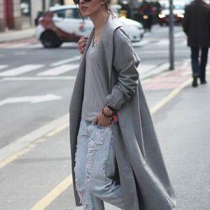 Long Gray Swing Coat Size L